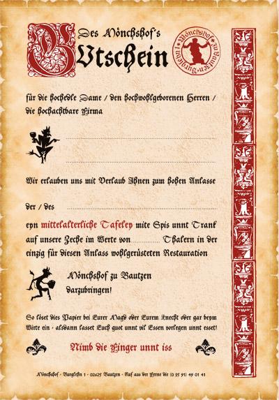 Gutschein Mönchshof